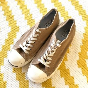 Converse Jack Purcell Tan Distressed Sneakers
